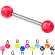 Titanium straight barbell with marble balls, 14 ga