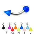 UV ball and cone curved barbell, 12 ga