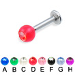 Labret with acrylic jeweled ball, 12 ga