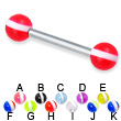 Straight barbell with striped balls, 12 ga