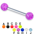 Glitter ball straight barbell, 12 ga