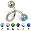 Spiral barbell with cat eye balls, 14 ga