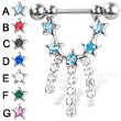 Nipple ring with five jeweled stars and three dangles, 14 ga