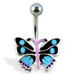 Navel ring with colored butterfly