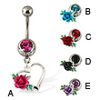 Rose on heart belly button ring