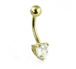 14K Yellow Gold Belly Button Ring with Pronged Heart