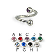 Jeweled ball spiral barbell, 16 ga