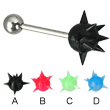 Spiky sphere tongue barbell, 12, 14, or 16 ga