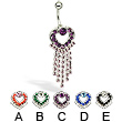 Hinged heart with dangles belly button ring