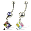 Square of gems belly button ring