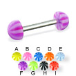 Beach half ball straight barbell, 14 ga