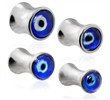 Pair Of Stainless Steel Evil Eye Saddle Plugs