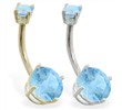 14K Gold double jeweled Aquamarine belly ring