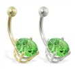 14K Gold belly ring with large 8mm Peridot