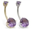 14K Gold double jeweled Alexandrite belly ring