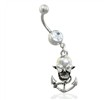Belly Ring with Dangling Skull Anchor