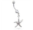 Steel belly ring with dangling starfish