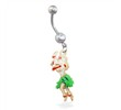 Belly ring with dangling hula girl