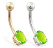 14K Gold belly ring with small Peridot oval