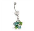 Navel ring with dangling multi-jeweled epoxy flower