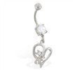 Belly ring with dangling jeweled looped hearts