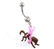 Jeweled belly ring with dangling cowgirl riding horse