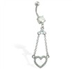 Navel ring with dangling jeweled heart on chains