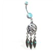 Double jeweled aqua belly ring with dangling indian face coin and feathers
