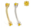 14K Gold internally threaded curved barbell with Citrine Gems