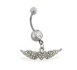 Belly ring with dangling jeweled heart and wings