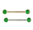 14K Gold Nipple Ring with Bezel Setting Emerald Gems, 14 Ga