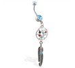 Double jeweled aqua belly ring with dangling dream catcher and feather