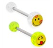 Straight barbell with smiley face logo glitter balls, 14 ga
