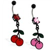 Black coated belly ring with dangling colored cherries