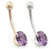 14K Gold belly ring with 8mm x 6mm oval Alexandrite