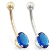 14K Gold belly ring with 8mm x 6mm oval Sapphire