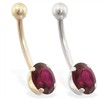 14K Gold belly ring with 8mm x 6mm oval Ruby
