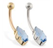 14K Gold belly ring with long blue zircon marquise