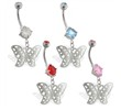 Double jewelry belly ring with dangling butterfly