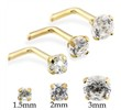 14K Gold L-Shaped Nose Stud With Round CZ