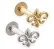 14K Gold internally threaded labret with Fleur-de-Lis charm top