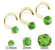 14K Gold Nose Screw With Round Peridot