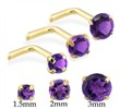 14K Gold L-shaped nose pin with Round Amethyst