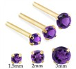 14K Gold Long Customizable nose stud with Round Amethyst