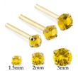 14K Gold Long Customizable Nose Stud with Round Citrine