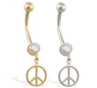 14K Yellow Gold belly ring with dangling peace sign