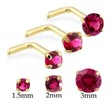 14K Gold L-shaped Nose Pin with Round Ruby