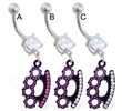 Belly ring with dangling black coated jeweled knuckles