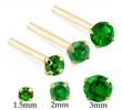 14K Gold Long Customizable Nose Stud with Round Emerald