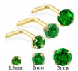 14K Gold L-shaped Nose Pin with Round Emerald